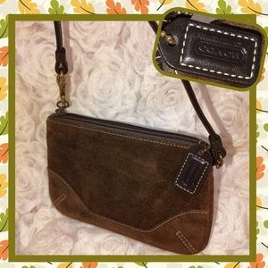 Coach Brown Suede Coin Purse Wristlet USED